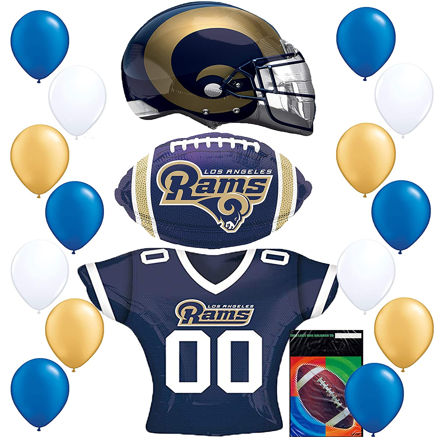 Los Angeles Rams LA Football NFL Party Supplies Sports Team Helmet Jersey Balloon Decoration Bundle with Foot Ball Treat Bags RAPIDNGUARANTEED