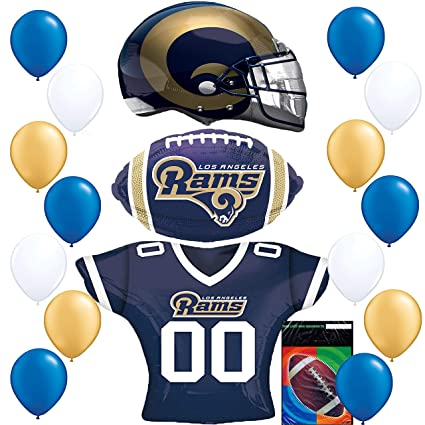 f898ee6fba5 Image Unavailable. Image not available for. Color  Los Angeles Rams LA  Football NFL Party Supplies Sports Team Helmet Jersey ...