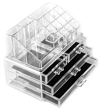 CrazySell Cosmetic Make Up Clear Acrylic Organiser Display Storage Acrylic  Makeup Storage Jewellery Case Makeup Box