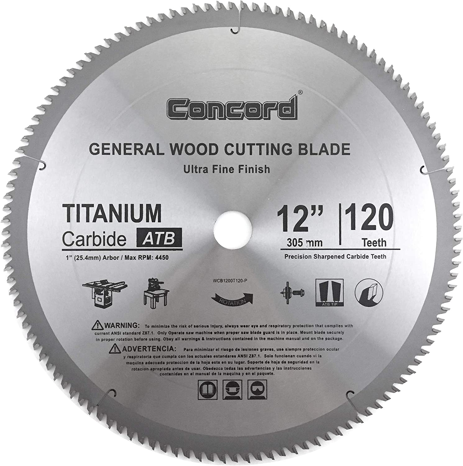 Concord Blades CTW120C10CP 12 Inch Continuous Wide Turbo Teeth Diamond Blade with Cooling Holes