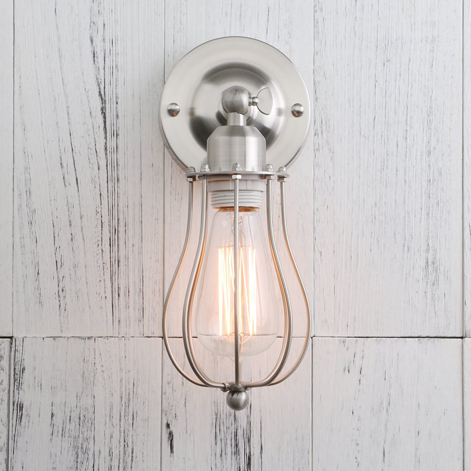 Permo Industrial Vintage Metal Wire Cage Wall Sconce Lighting Light Fixture Ceiling Mount Brushed
