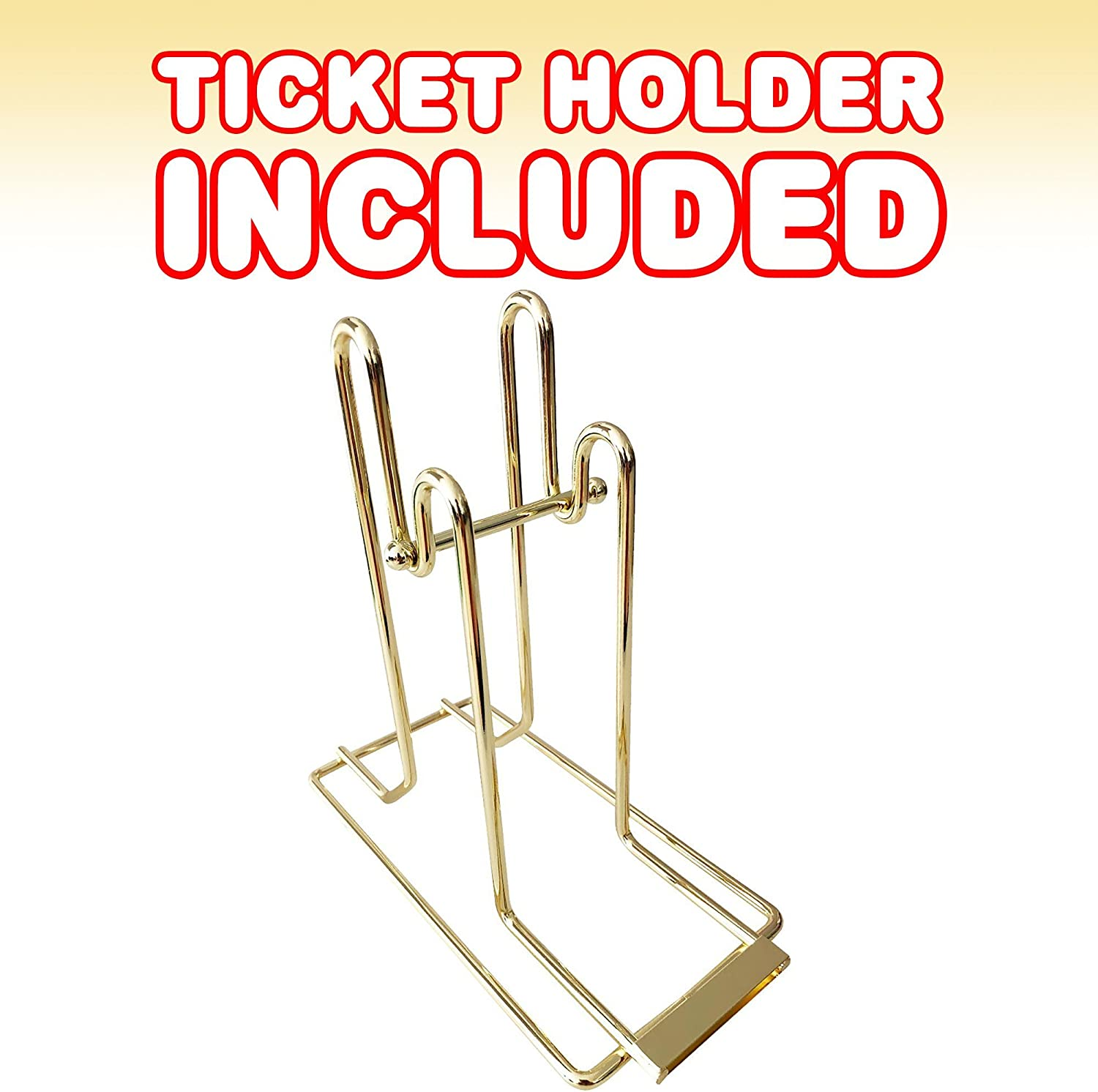 School Events Brass-Plated Ticket Stand 4000 Total Tickets For Carnivals Includes 1 Dual Ticket Dispenser and 2 Ticket Rolls ArtCreativity Carnival Ticket Holder Set Parties and More