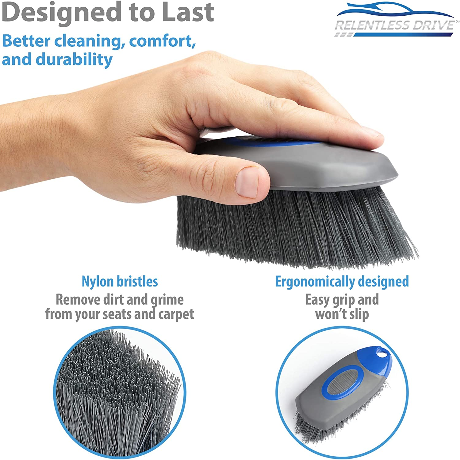 VIKING Carpet and Upholstery Cleaning Brush Scrub Brush for Car Interior Home Couch Stain Remover Black//Blue