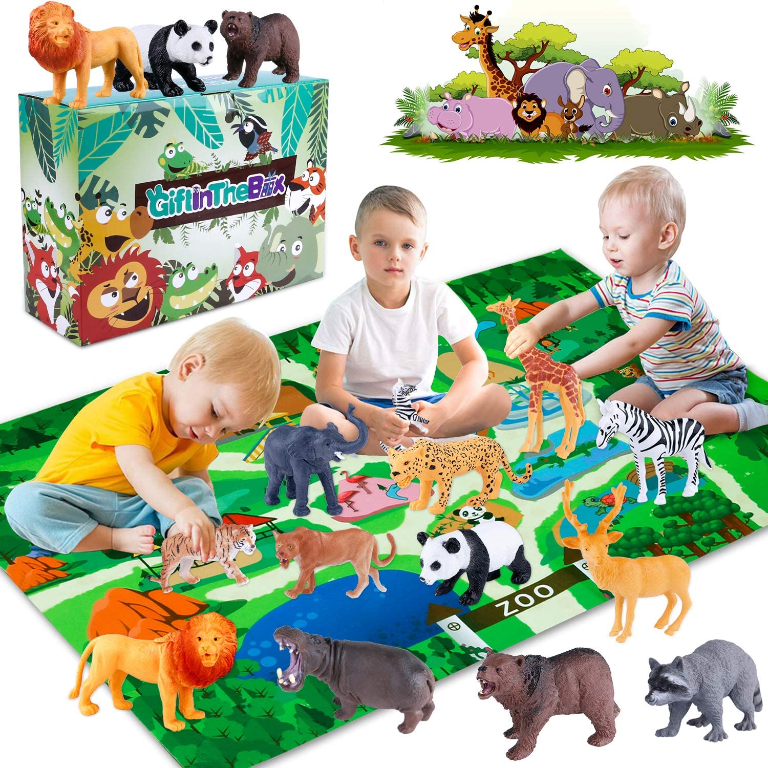 GiftInTheBox Safari Animal Figurines Toys with Activity Play Mat , Realistic Plastic Jungle Wild Zoo Animals Figures Playset with Elephant, Giraffe, Lion, Panda,Gift for Kids, Boys …: Toys & Games