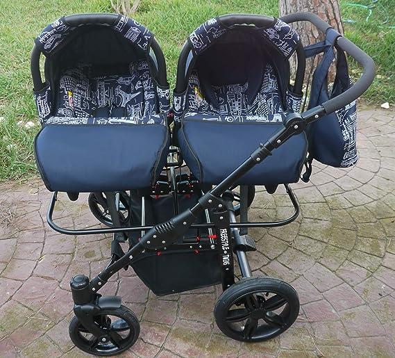 Carro doble gemelar 3en1. 2 capazos + 2 sillas + 2 grupo 0 + ...