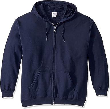 Gildan Carolina Blue Zip Up Hoodie Basic Hooded Sweatshirt Sweater Fleece