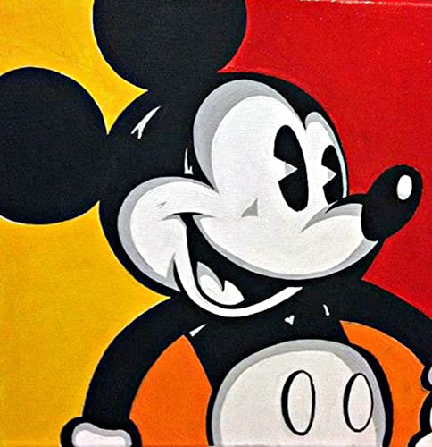 Mickey Mouse Acrylic Painting On Canvas
