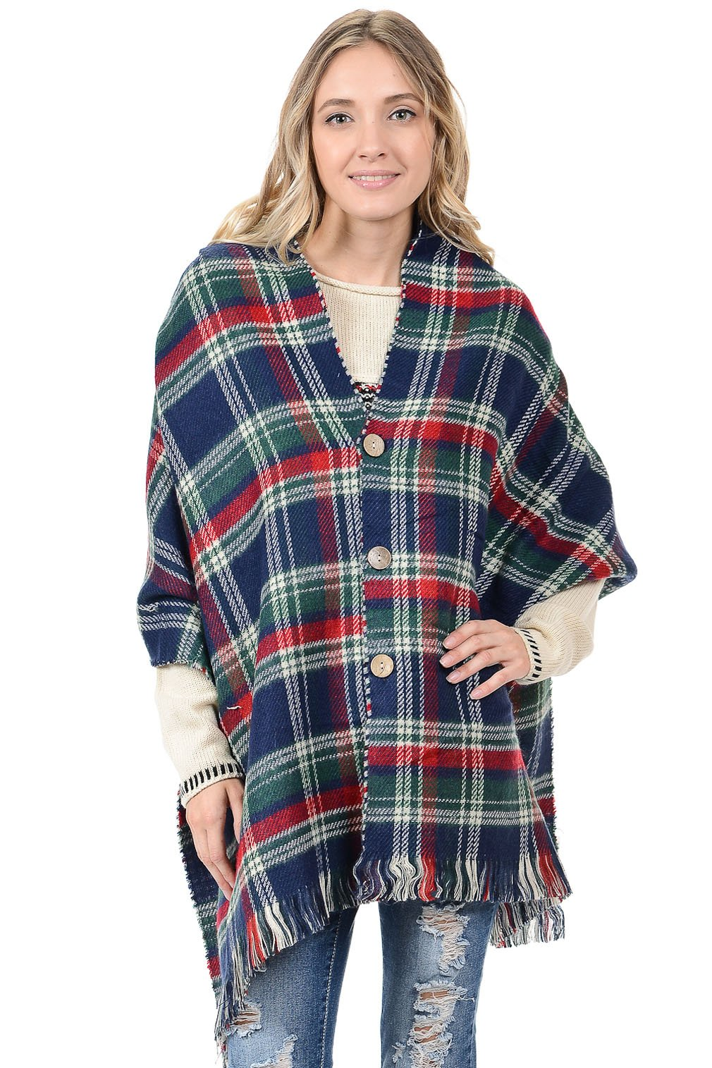 Basico Women's Knitted Sweater Poncho Cape Shawl Wrap One Size Various Colors (Style 03 New Navy)