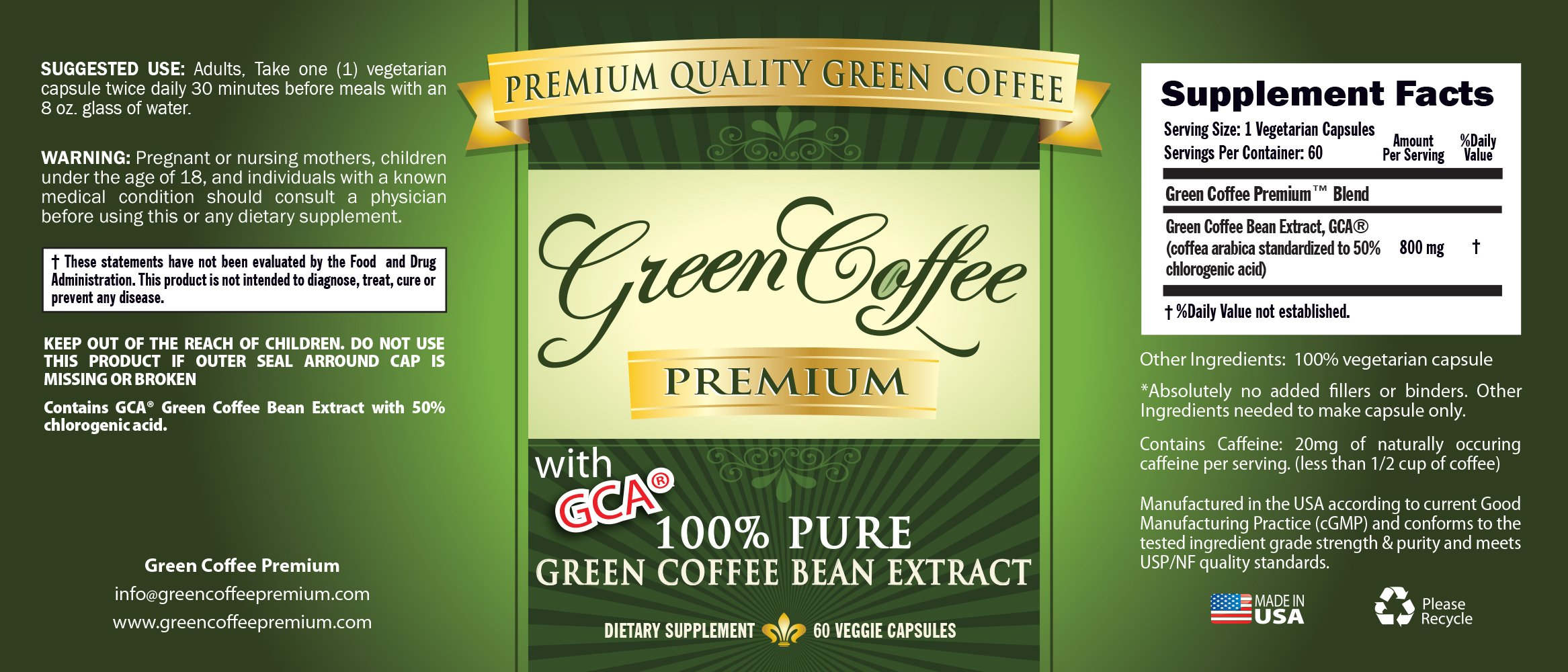 Green Coffee Bean Extract 100% PURE - 50% Chlorogenic Acid - 60 Capsules - Quick Fat Burner by Green Coffee Premium (Image #3)
