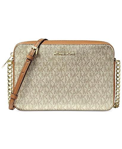 7481a802da8055 MICHAEL Michael Kors Metallic Signature East West Crossbody (Gold/Acorn):  Handbags: Amazon.com