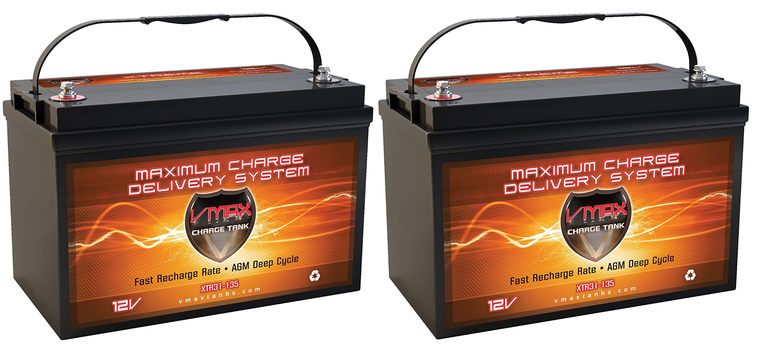 (2) XTR31-135 24 Volt Trolling Motor Batteries 135 Amp Hours VMAX Group 31 12V AGM Deep Cycle Maintenance-Free Sealed Marine 12 Volt 135Ah Battery for 24V Trolling Motors by VMAXTANKS