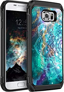 BENTOBEN Case for Samsung Galaxy S6, Slim Hybrid Heavy Duty Rugged Hard PC Soft TPU Bumper Shockproof Glow in The Dark Luminous Noctilucent Protective Case for Samsung Galaxy S6, Mandala in Galaxy
