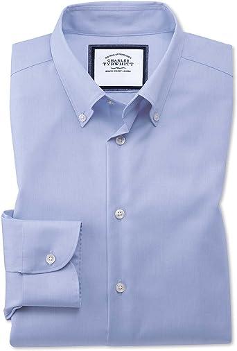 Charles Tyrwhitt - Camisa formal de algodón con botones para negocios, estilo informal, sin plancha, color azul cielo