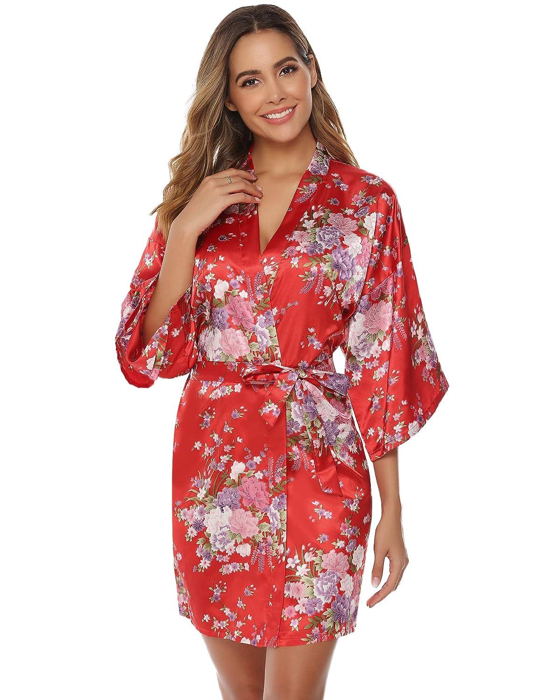 Aibrou Bata Mujer Seda Flores Corto,Kimono Sat/én Suave y Comodo Ropa Dama de Novia