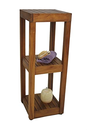 Amazon.com: The ORIGINAL SULA Square Three Tier Teak Bath Stand ...