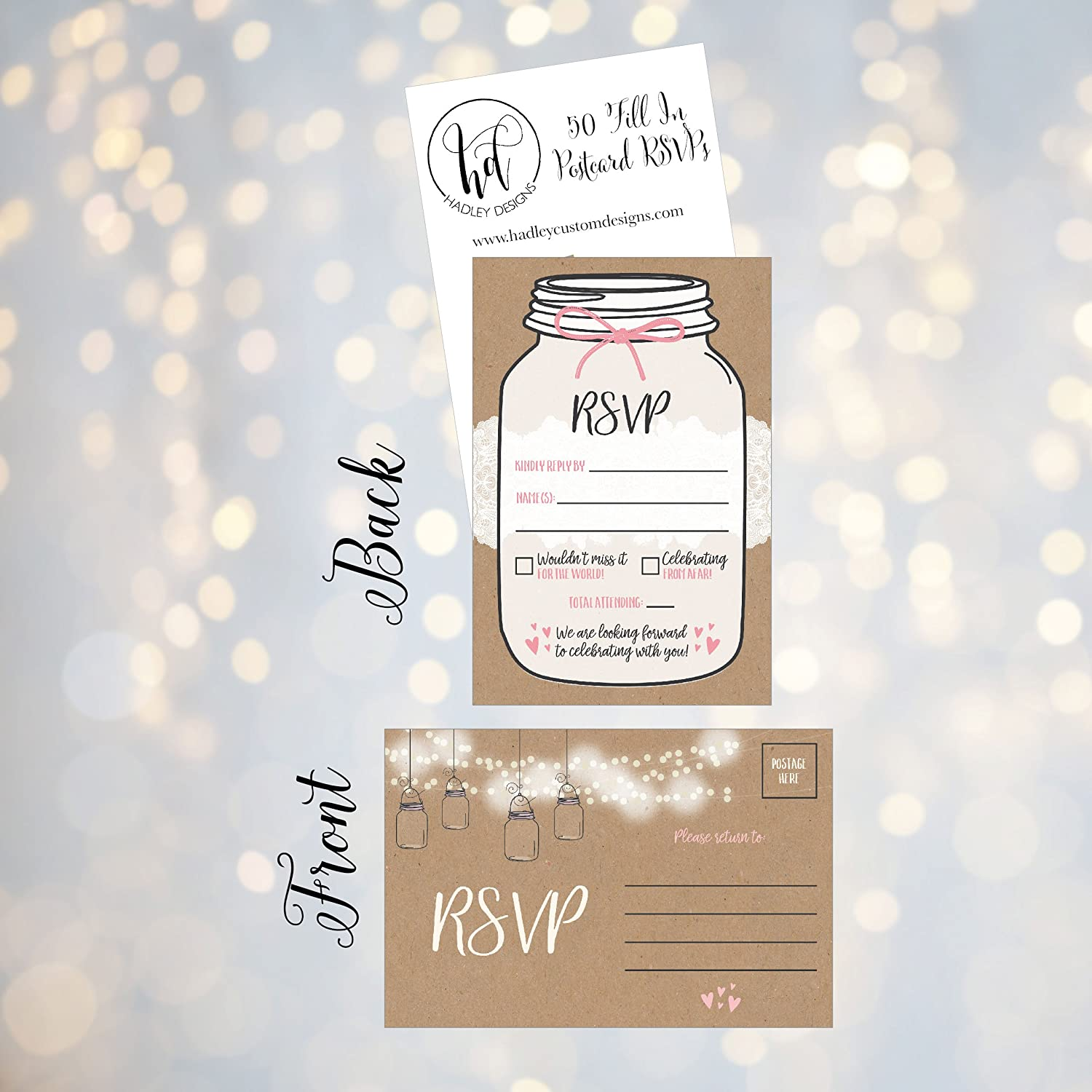 Birthday Blank RSVP Reply 50 Rustic RSVP Cards Bachelorette Party Invitations RSVP for Wedding Bridal RSVP Postcards No Envelopes Needed Baby Shower Rehearsal Dinner Response Card Engagement