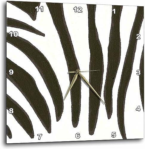 3dRose DPP_17537_3 Zebra Print Wall Clock, 15 by 15-Inch