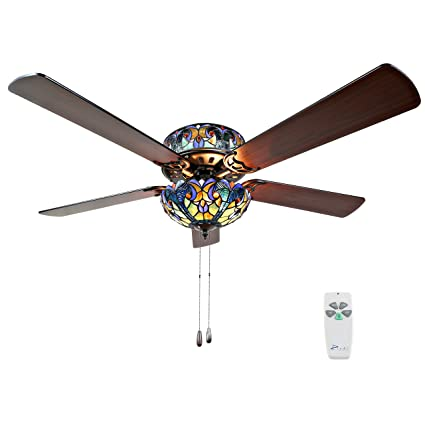 new style ceiling fans attractive river of goods 16160s tiffany style stained glass halston ceiling fan blue amazoncom
