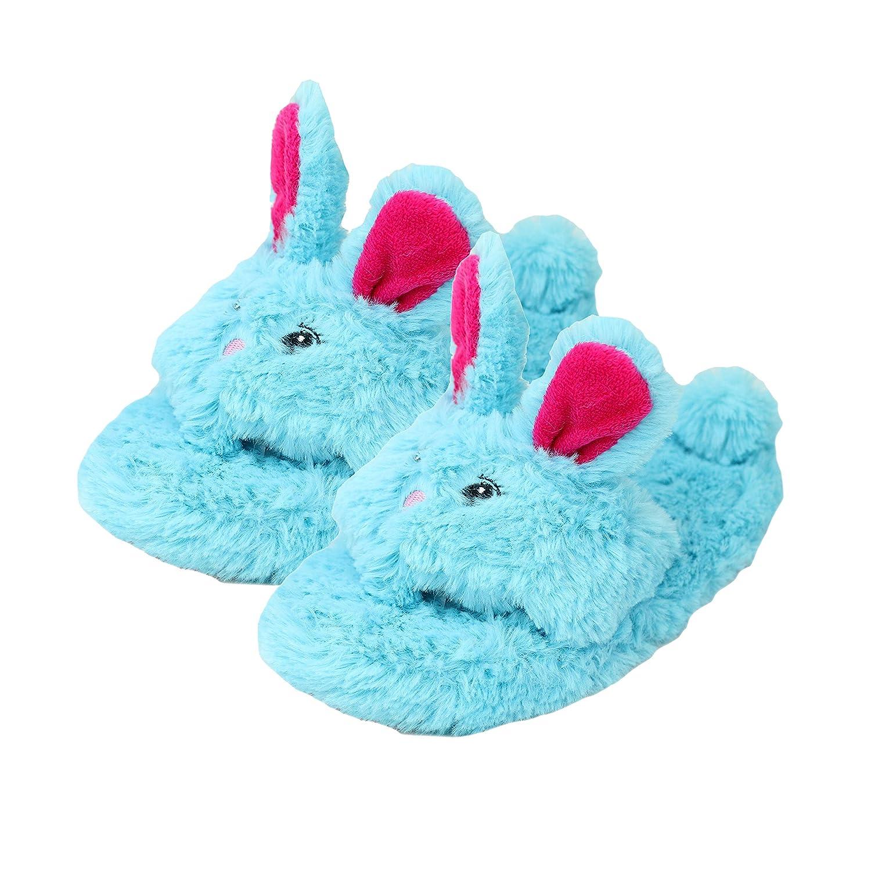 Metzuyan Girls Novelty Fluffy Bunny Rabbit Open Toe Slippers