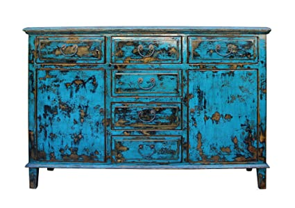 Oriental Distressed Rustic Blue Credenza Sideboard Buffet Table Cabinet  Acs3151