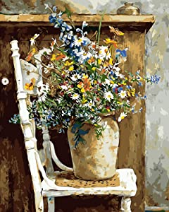 """COLORWORK DIY Paint by Numbers, Canvas Oil Painting Kit for Kids & Adults, 16"""" W x 20"""" L Drawing Paintwork with Paintbrushes, Acrylic Pigment-Wild Flowers Pots Chair"""