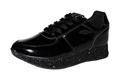 bbdad7cd57d9 ROXY ROSE Women Fashion Metallic Sneaker Glitter Flatform Quilted Lace Up  Casual Shoes 6.5 B(