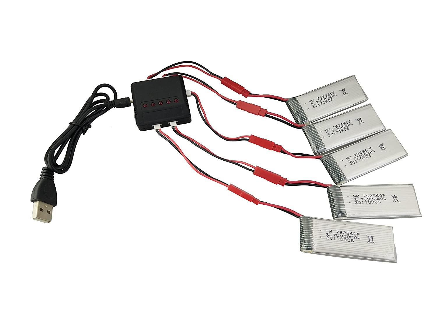 Fytoo 5PCS 3.7V 900mah Lithium Batteries /& 5 in 1 Charger /& Charge Cable for 8807 8807W Folding Four-axis Aircraft Remote Control Quadcopter Drone Batteries Spare Parts
