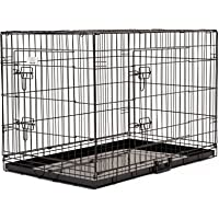 "30"" (77cm) Double Door Metal Dog Cage Folding Pet Crate Portable Kennel Cat Rabbit Puppy House with Removable Tray"