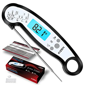 Kizen Meat Instant Read Thermometer - Best Waterproof Alarm Thermometer with Backlight & Calibration. Kizen Digital Food Thermometer for Kitchen, Outdoor Cooking, BBQ, and Grill