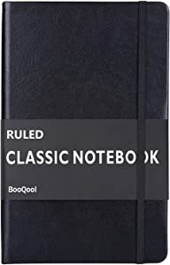 Ruled Notebook/Journal – Premium Thick Paper Faux Leather Classic Writing Notebook, Black, Hard Cover, Lined (5.4 x 8.3)