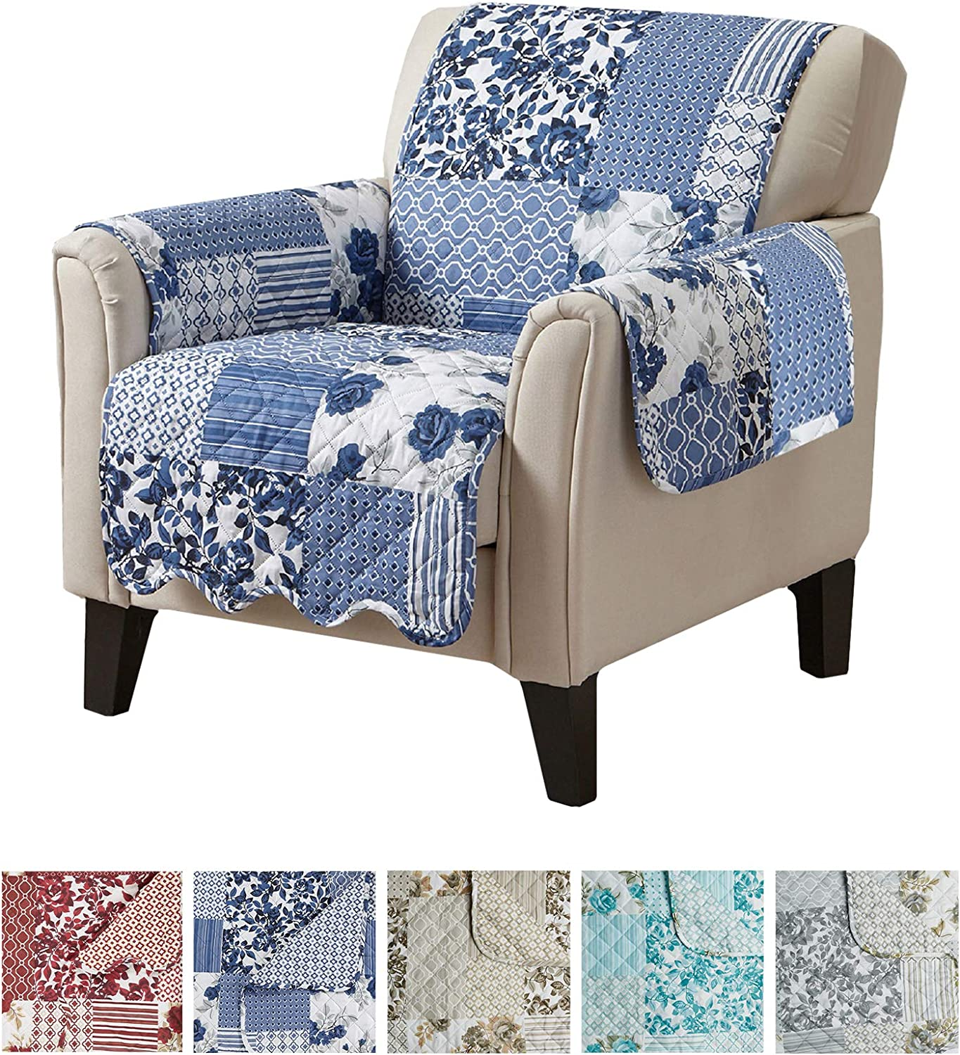"Great Bay Home Patchwork Scalloped Printed Furniture Protector. Stain Resistant Chair Cover. (24"" Chair, Navy)"