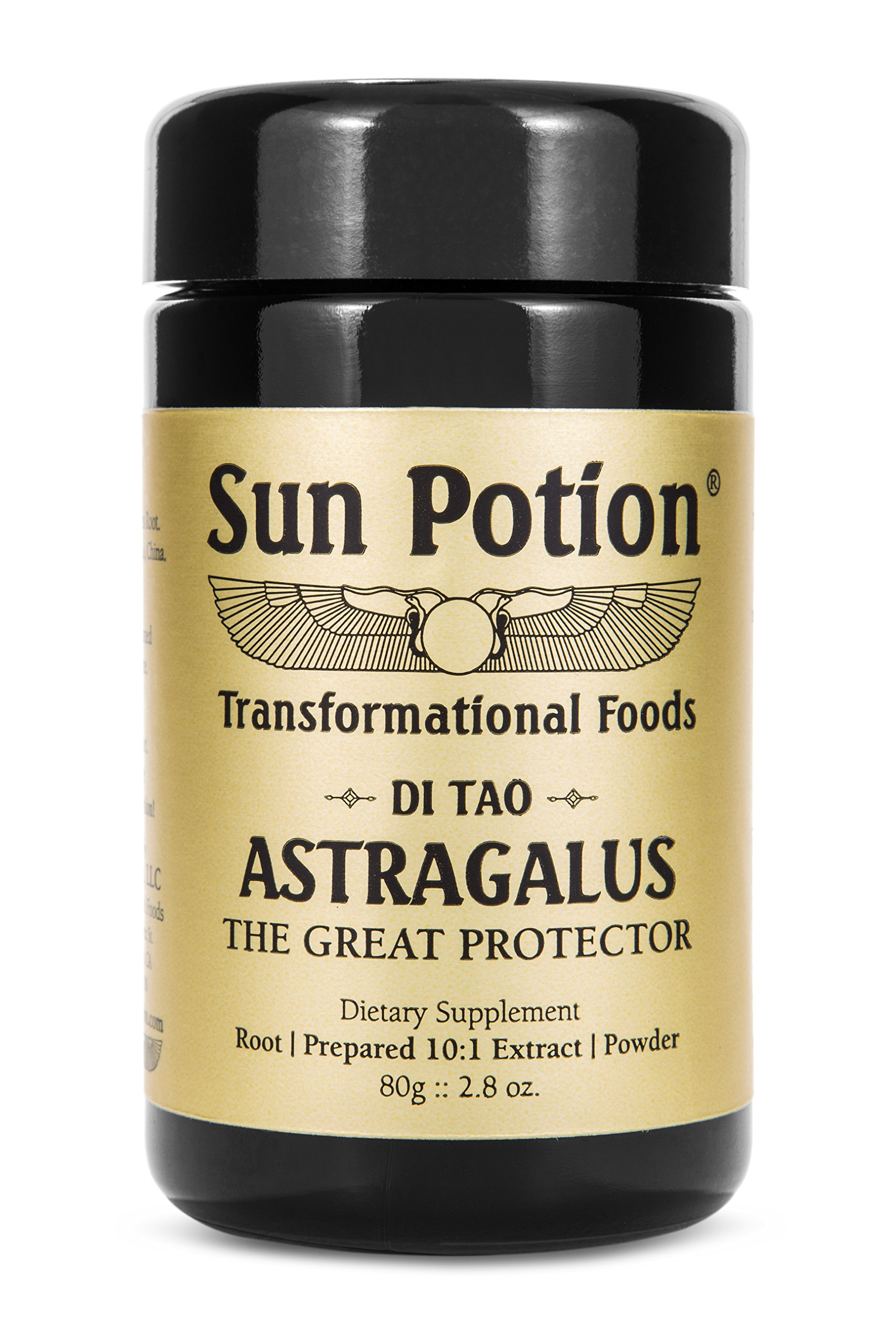 Astragalus Root Powder 80g Jar by Sun Potion - Organic, Wildcrafted Herbal Extract Supplement - Potent Qi Tonic - Immune System, Metabolism, and Digestion Support
