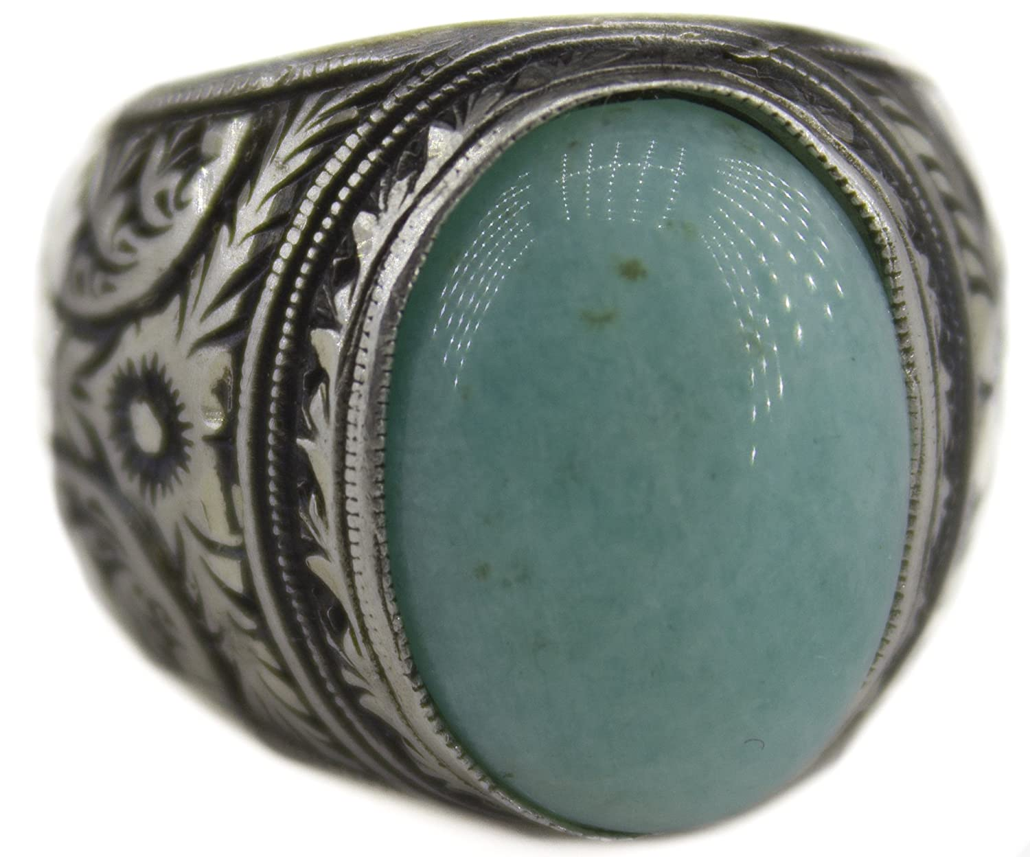 Larimar Natural Gemstone Handmade Sterling Silver Ring Steel Pen Crafts Falcon Jewelry Sterling Silver Men Ring