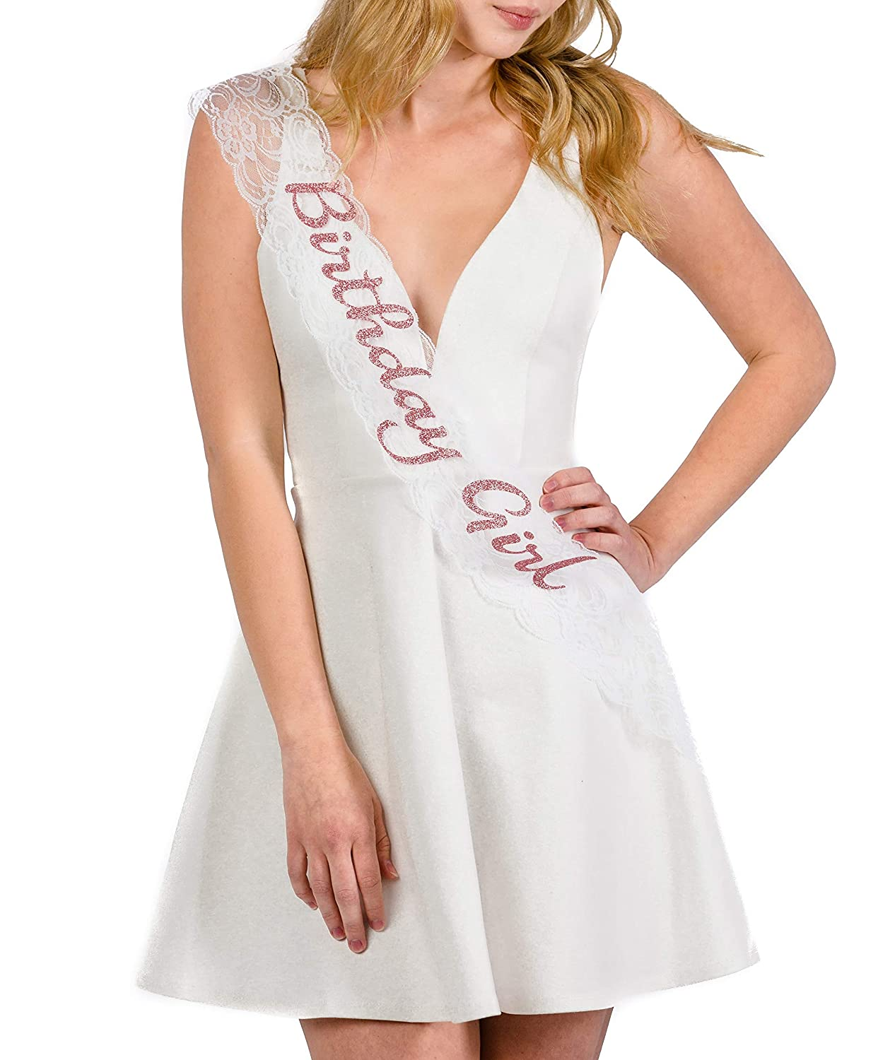 Dulcet Downtown White Birthday Girl Lace Sash in Rose Glitter Lettering
