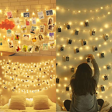 10m 100led Luci Per Foto Polaroid Lucine Led Decorative Per Camere Porta Foto Mollette Luci Led Foto Clip Luci Mollette Led Luci Tumblr Camera Con 50 Clip 20 Chiodi Amazon It Illuminazione