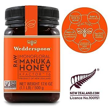 Wedderspoon Raw Premium Manuka Honey KFactor 16, 17 6 Oz, Unpasteurized,  Genuine New Zealand