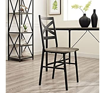 Walker Edison X Back Dining Chair In Driftwood (Set Of 2)