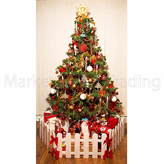 christmas tree decoration surround fence 3 x lengths 18mtr white free standing - 3 Christmas Tree