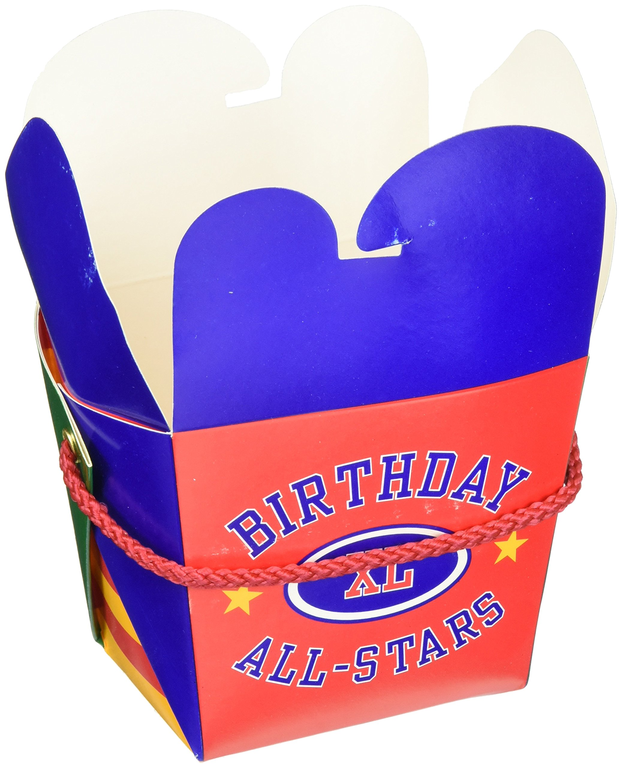 Amscan Party Ready Medium All Stars Varsity Take Out Style Favor Box, Multicolor, 4'' X 4'' X 3''