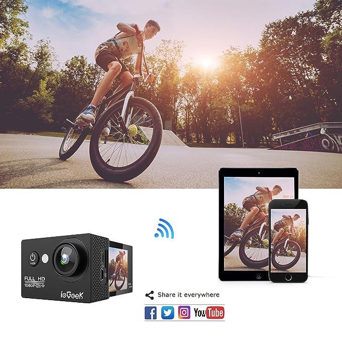 Cámara para deporte/acción wifi de 2,0 pulgadas 1080P Full HD de ieGeek con funda impermeable, lente de gran ángulo de 170 grados, 14 MP para grabación al ...
