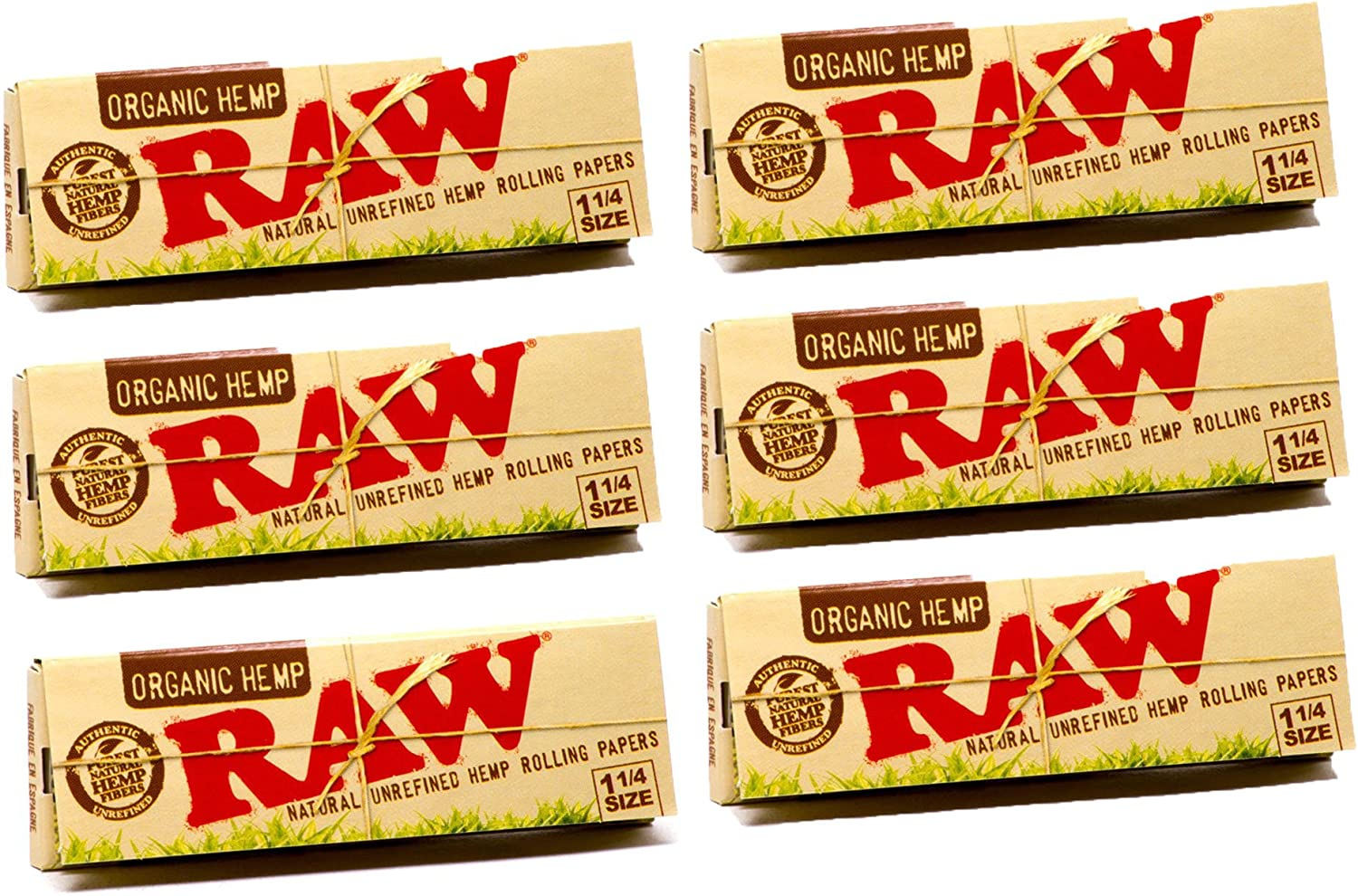 RAW Organic Hemp Natural Unrefined Rolling Papers 1 1//4   2 Packs