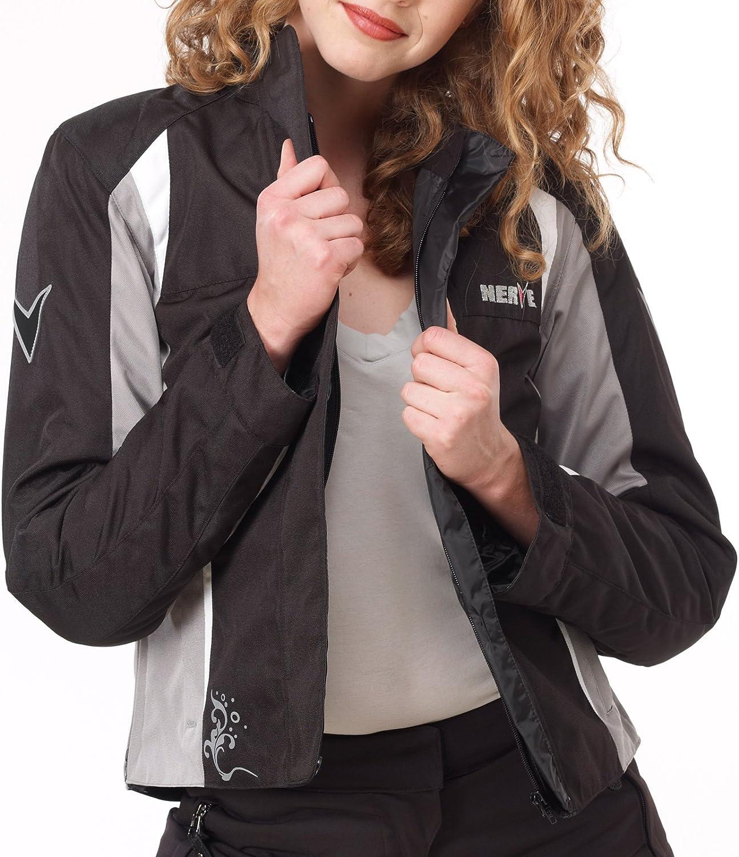 wei/ß-schwarz 48 Damen/Motorradjacke Artemis-/Motorrad Wasserdicht Jacke mit Protektoren Sommer Winter Textil Frauen