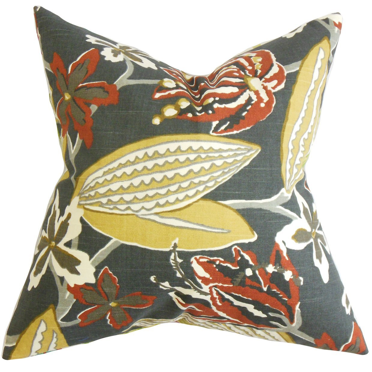 The Pillow Collection Averill Floral Bedding Sham Red King//20 x 36