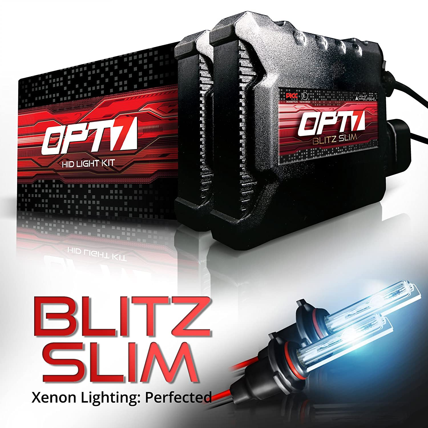 OPT7 Blitz Slim 9004 Hi-Lo HID Kit - 3.5X Brighter - 4X Longer Life - All Bulb Sizes and Colors - 2 Yr Warranty [10000K Deep Blue Xenon Light]