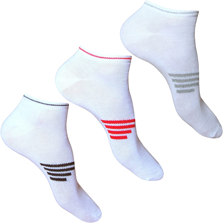 6x Pair Mens Women Ladies Plain Cotton Blend Trainer Gym Sports Wear Socks