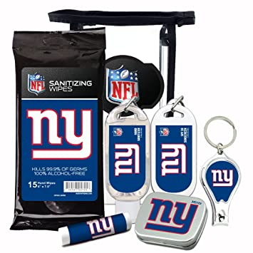 new concept d5f49 09872 New York Giants 6-Piece Fan Kit with Decorative Mint Tin, Nail Clippers,  Hand Sanitizer, SPF 15...