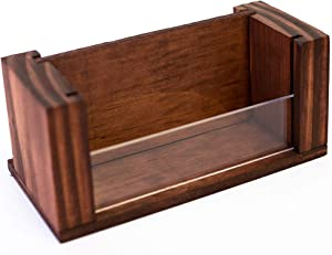 Wood Business Card Holder - Premium Desktop Display Stand with Acrylic Front - Handmade - 70 Card Capacity - 2.4 x 4.5 Inches (Stain)