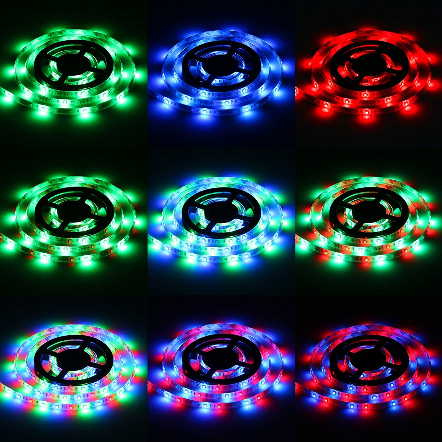 Led Light Strips Sunsbell Battery Powered Rope Flexible Strip With Elements For On Wiring To Lights Waterproof Smd 3528 200cm 656ft Rgb Home Kitchen