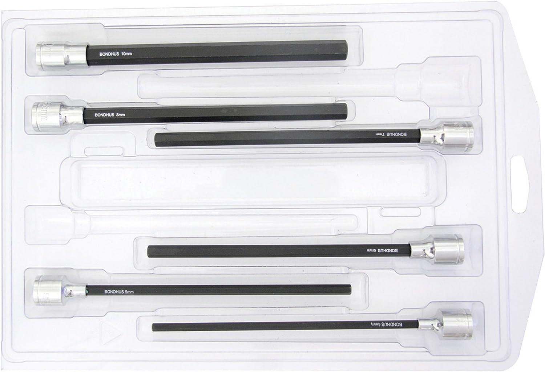 Bondhus 43646 4-10mm 6-Inch ProHold Socket Bits with Sockets, Set of 6
