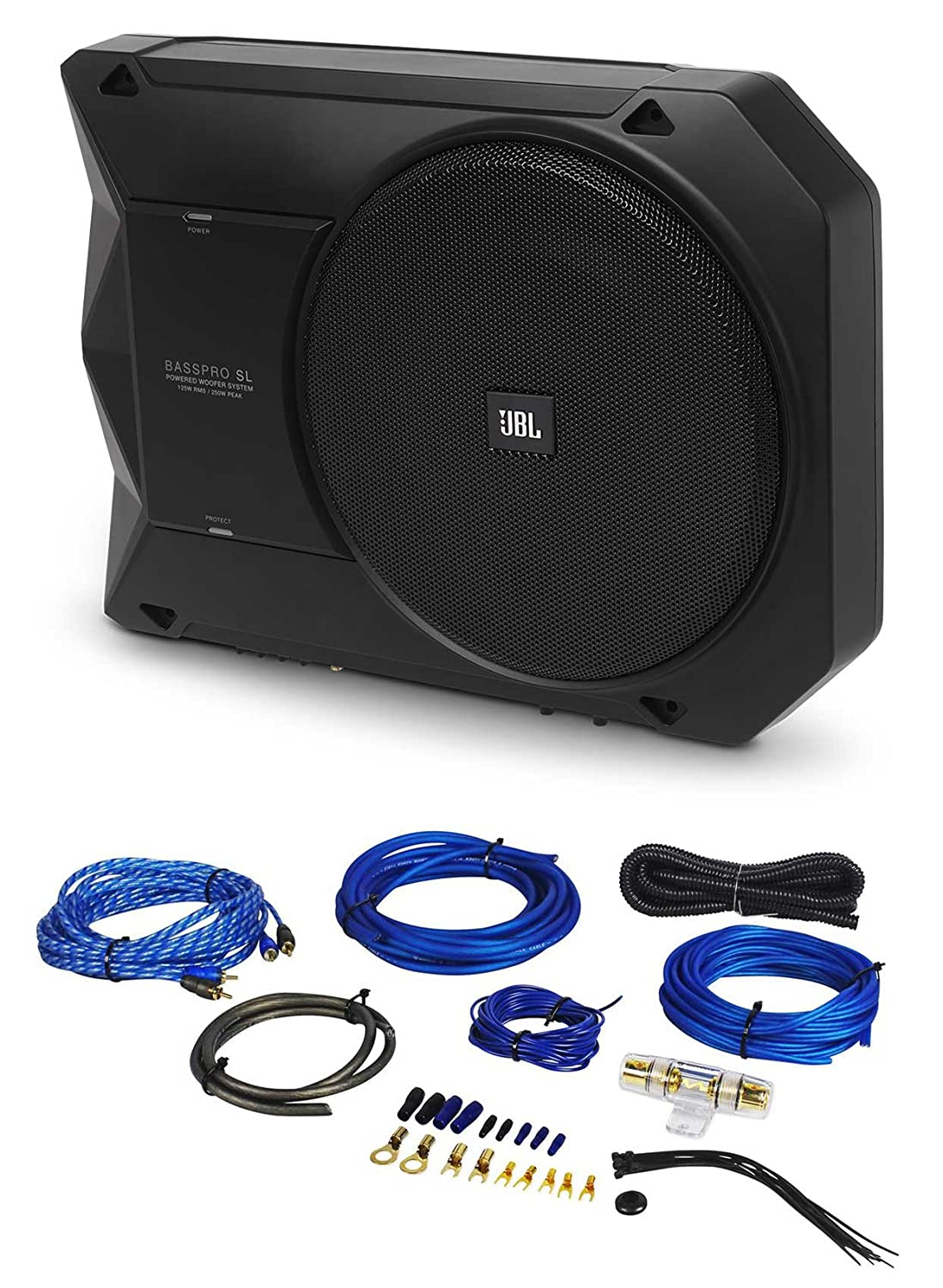 "Amazon.com: JBL BassPro SL 8"" 125w RMS Active Slim Underseat Car/Truck  Subwoofer Sub+Amp Kit: Car Electronics"